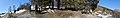 Klevgardsvegen ved riksvei 70 i Drivdalen vest for Lønset i Oppdal, Norway. Minnetavle for Kletthamranskredet, Kletthammer, Emangen 1868 (snow avalanche memorial) kart over Kløvstigen. Distorted panorama 2019-04-11.jpg
