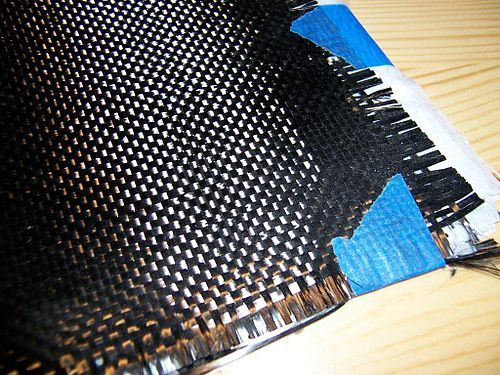 A cloth of woven carbon fiber filaments, a common element in composite materials Kohlenstofffasermatte.jpg
