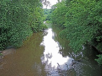 Gambier, Ohio - The Kokosing River, a tributary of the Ohio River, flows past Gambier