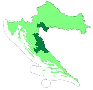 Republic of Serbian Krajina - Two Autonomous Districts of Croatia are shown in dark green.