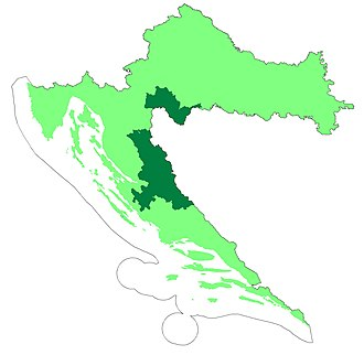 Republic of Serbian Krajina - Two proposed autonomous districts of Croatia are shown in dark green.