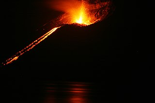 A volcanic island in the Sunda Strait between Java and Sumatra in Indonesia
