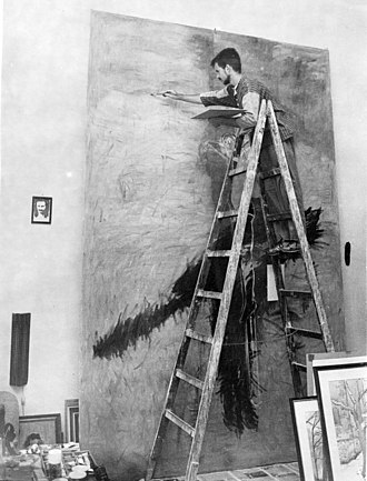 Alfred Freddy Krupa - Artist Alfred Freddy Krupa during initial stages of oil on canvas painting, photographed by Danko Fajt