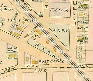 Richmond Hill, Queens - Development around railroad station, after two decades of operation, on an 1891 map
