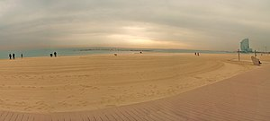 La Barceloneta, Barcelona - Barceloneta beach in winter, with W Barcelona Hotel
