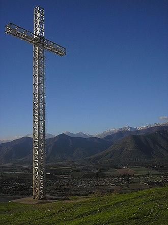 """La Calera, Chile - 100-Foot-high Cross on """"La Melonita"""" hill, in La Calera"""