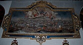 Lucas de Valdés - Lucas Valdés, La Virgen del Rosario protegiendo las naves españolas en la Batalla de Lepanto.