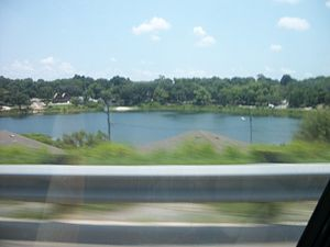 Clermont, Florida - Lake Sunnyside as seen from high above eastbound SR 50, one of many lakes in Clermont.