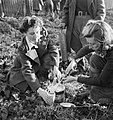 Land Girls preparing rat poison as part of their training on a farm in Sussex, 1942. D11221.jpg