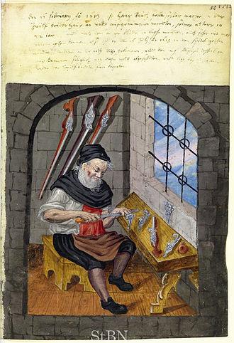 Gunsmith - A gunsmith at work, 1613