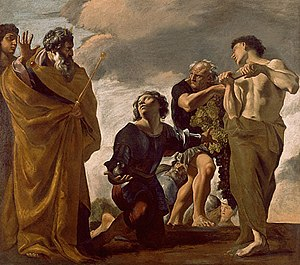 Joshua - Moses and the Messengers from Canaan, by Giovanni Lanfranco, oil on canvas, 85¾ × 97 inches, at the J. Paul Getty Museum, Los Angeles, United States