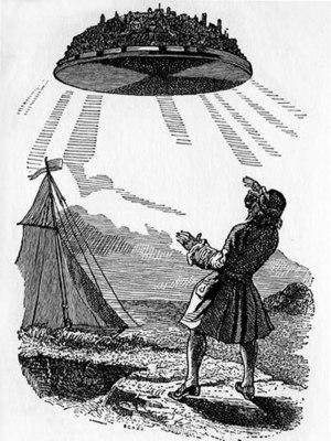 Floating island (fiction) - Gulliver discovers Laputa, the flying island in Jonathan Swift's Gulliver's Travels. Illustration by J.J. Grandville, d. 1847.)