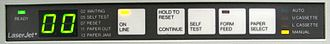 """PC LOAD LETTER - Early LaserJet models used a two-character display for all status messages.  This printer is showing """"00"""", for normal status.  Paper out in the upper cassette would be indicated by alternating """"11"""" and """"UC""""."""