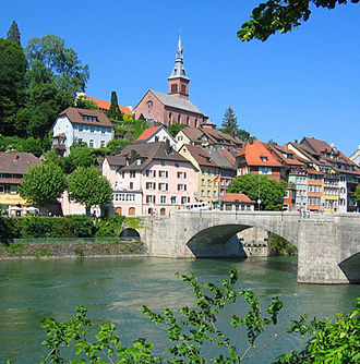 Laufenburg, Germany - View of the German side of the town and the old bridge.