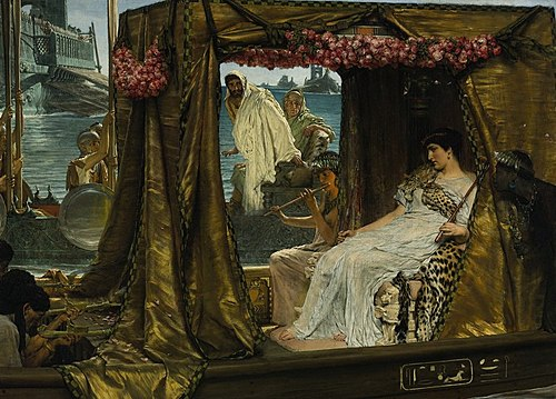 The Meeting of Antony and Cleopatra (1885), by Lawrence Alma-Tadema Lawrence Alma-Tadema- Anthony and Cleopatra.JPG