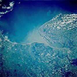 Monding van de Seine bij Le Havre, Foto: NASA