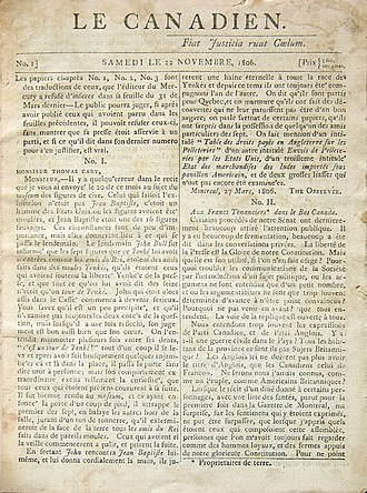 History of Canadian newspapers - Le Canadien, November 22, 1806, vol. 1, no 1.