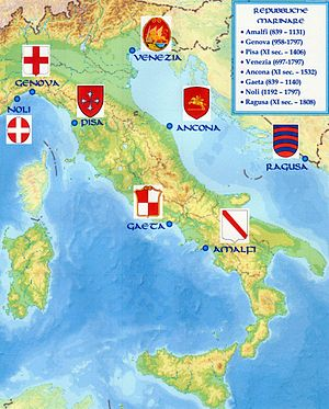 Maritime republics - Map of the maritime republics in the 11th century and their coats of arms.