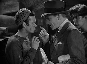 Angels with Dirty Faces - Gorcey (left) and Cagney (right) in the basement scene, with Billy Halop in the background