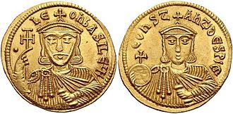 Leo V the Armenian - Gold solidus of Leo V, with his son and co-emperor, Constantine