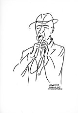 Leonard Cohen a Berlino nel 2009 - sketch di Gottfried Grafe