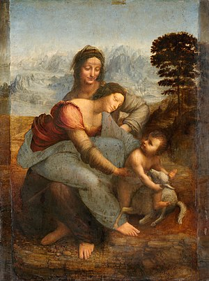 Doni Tondo - The Doni Tondo was influenced by an early version of Leonardo da Vinci's The Virgin and Child with St. Anne. This is the completed version, painted in 1510.