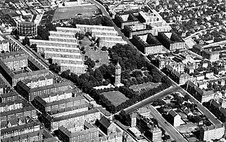 Lergravsparken - Aerial of the park from c. The watertower, gasometer and Sundbyparken Housing Estate is clearly visible
