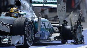 2013 British Grand Prix - Lewis Hamilton suffered a tyre puncture on lap 7.