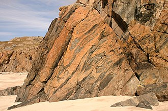 Hebridean Terrane - Outcrop of weathered Lewisian gneiss, 5 km NW of Loch Inver