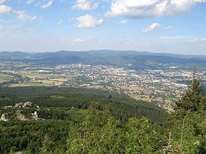 Jizera Mountains - View over Liberec to the Jizera Mountains from Mt. Ještěd