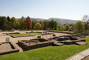 Aalen - The Roman fort's excavated foundation walls
