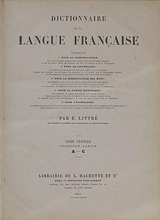 Dictionnaire de la langue française (Littré) - Image: Littré 1863 A C page de titre