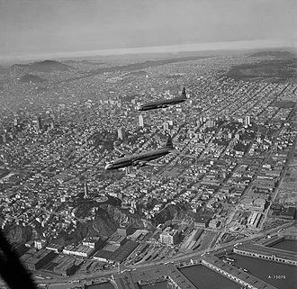 Lockheed R6V Constitution - The two XR6V Constitutions in flight over San Francisco in 1950