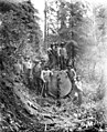 Loggers splitting log with wedges, Warren Spruce Company, ca 1918 (KINSEY 2611).jpeg