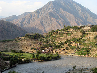 Kunar Province - Looking north from the headquarters of the 7th Kandak of the Afghan Border Police Zone 1, located in Bari Kwot, Kunar province.