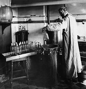 Louis Pasteur - Pasteur experimenting in his laboratory.
