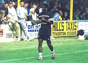 Louis Saha - Saha, just after signing for Fulham, in a pre-season friendly against Tiverton Town