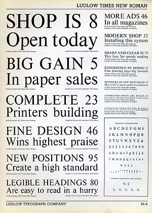 Times New Roman - A Ludlow Typograph specimen of Times New Roman Type Specimen from the metal type period. The design was altered in smaller sizes to increase readability, particularly obvious in the widened spacing of the six and eight point samples at centre right of the diagram.