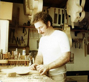Luthier - American guitar luthier Robert Benedetto in his studio (c. 1976)
