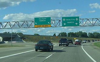 M-53 (Michigan highway) - Southern end of the Christopher Columbus Freeway at the interchange with Van Dyke Road