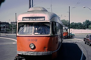 "Newton Corner (MBTA station) - ""A"" Branch streetcars just south of the rotary in 1965"