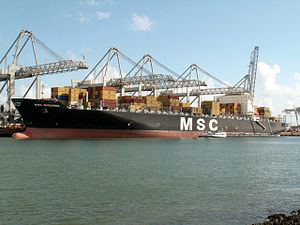 MSC Sussana p3, at the Amazone harbour, Port of Rotterdam, Holland 29-Apr-2006.jpg