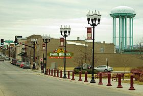 Main Street and water tower