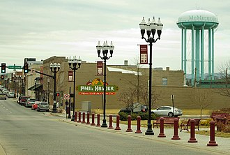 McMinnville, Tennessee - Main Street and water tower