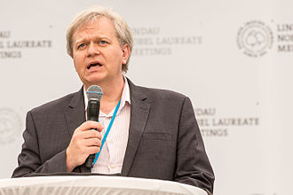 Mainau Declaration - Nobel laureate Brian Schmidt reading the Mainau Declaration 2015 on Climate Change on the final day of the 65th Lindau Nobel Laureate Meeting. Photo: Christian Flemming