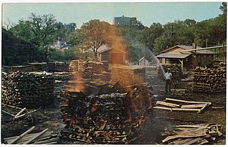 Jack Daniel's - Making charcoal at the distillery, ca. 1920–35