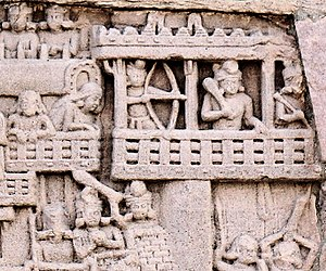 Malla (India) - The Mallas defending the city of Kusinagara, Stupa 1, Southern Gateway, Sanchi. 1st century BCE-CE.