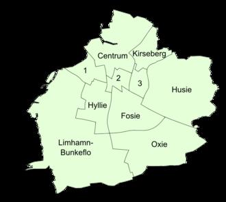 Malmö Municipality - City districts before July 2013.
