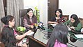 "Maneka Sanjay Gandhi briefing the media on the exhibition on ""Women and Organic Products in India"", of the Women and Child Development Ministry, in New Delhi on November 02, 2015.jpg"