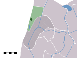 The town centre (darkgreen) and the statistical district (lightgreen) of Callantsoog in the former municipality of Zijpe.